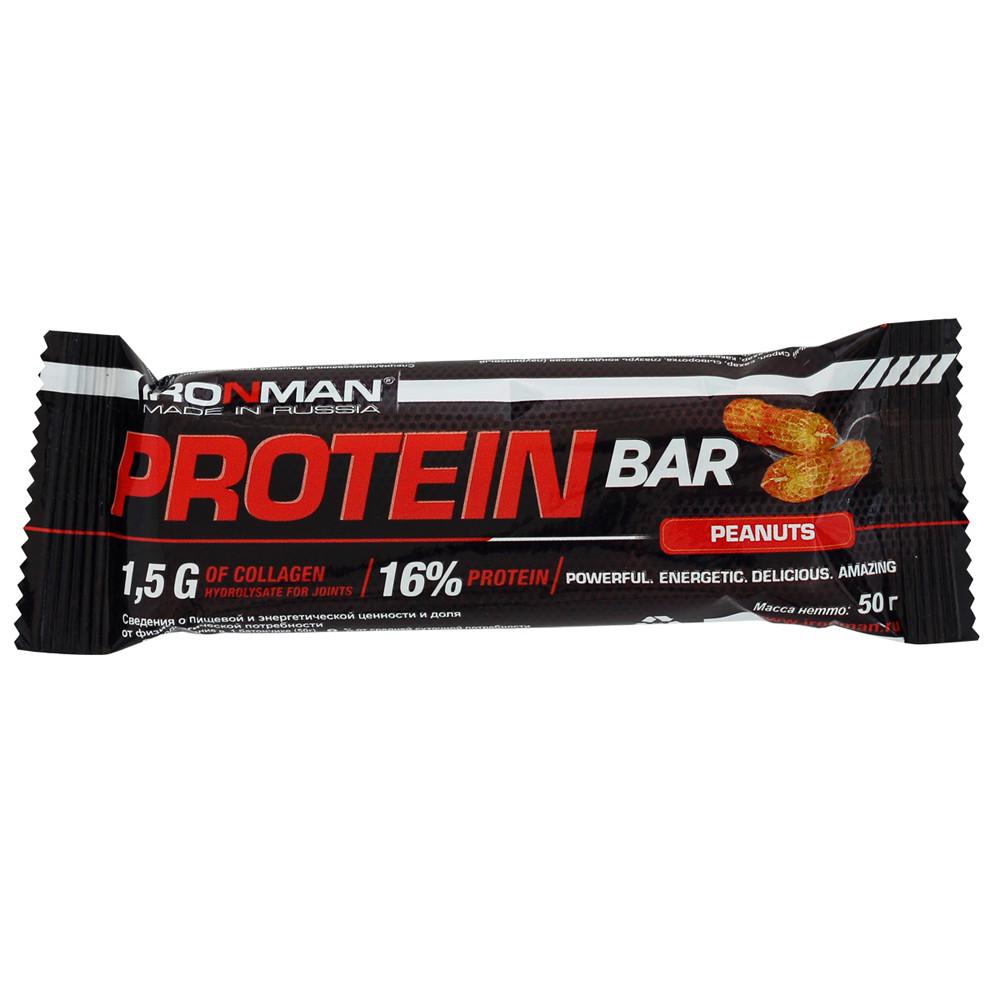 Батончик Ironman Protein Bar с коллагеном 50гр орех