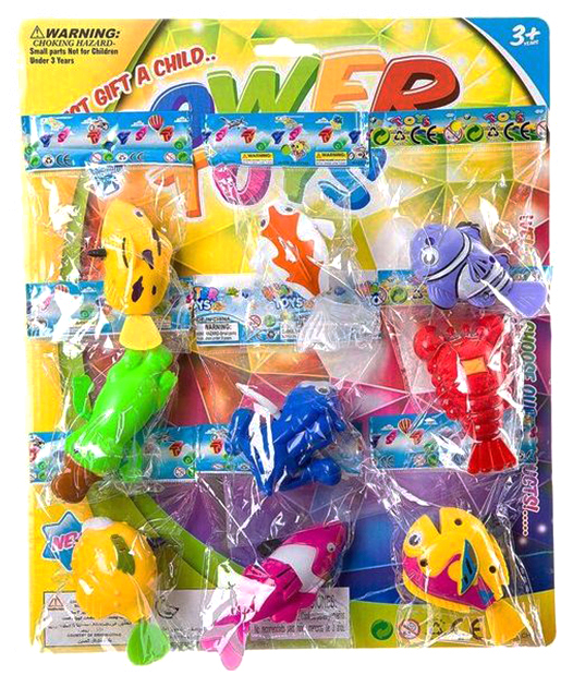 Набор заводных игрушек для ванны, 9x4x5 см, 9 штук фото