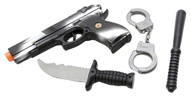 Купить Набор оружия Пистолет с прицелом, нож, дубинка, наручники РАС 28х18см 911, Shenzhen Toys, Детские наборы полицейского