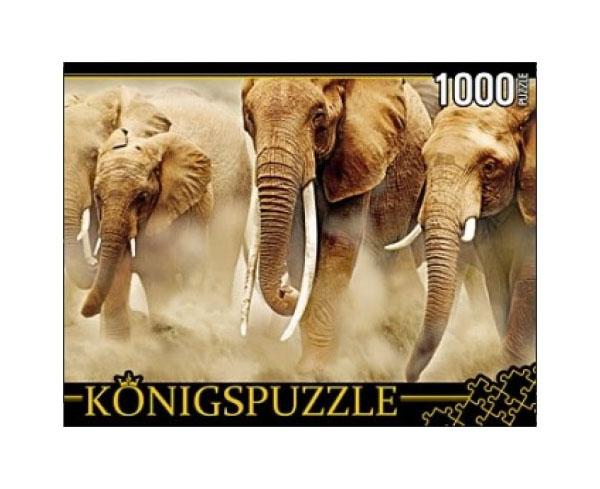 Купить Пазл Konigspuzzle Стадо слонов КБК1000-6464 1000 деталей, Königspuzzle, Пазлы