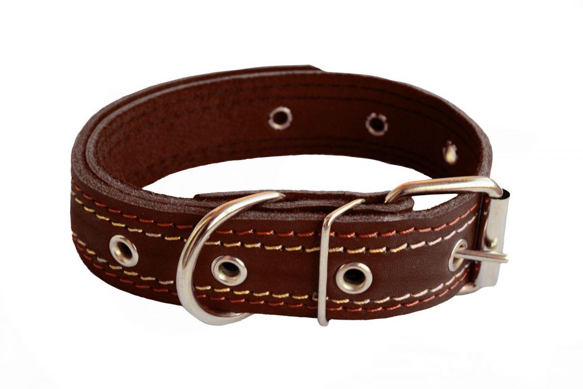 Ошейник для собак Киспис, кожаный, коричневый, 20мм х 44 см