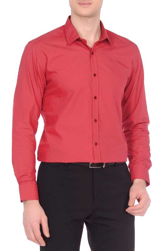 Рубашка мужская KarFlorens 10600-58 красная XL