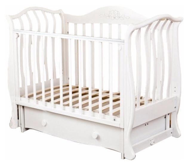 Купить Кровать детская Красная Звезда Юлиана С 757 резьба № 8 накладка № 10 птички Слоновая кость, Красная звезда, Классические кроватки