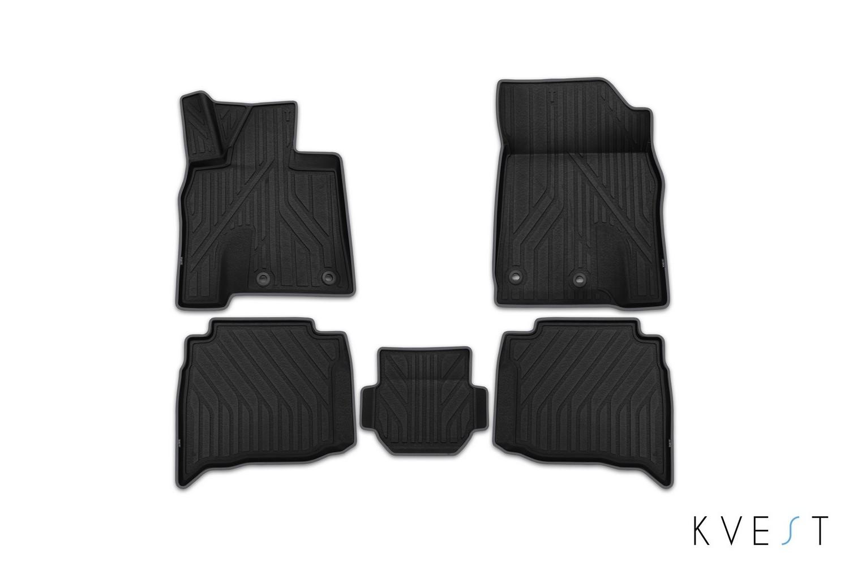 Коврики в салон KVEST для TOYOTA LC 200, 2015, 5 шт. полистар, черный, серый