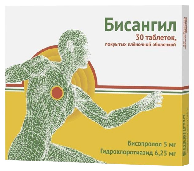 Бисангил таблетки, покрытые пленочной оболочкой 5 мг+6,25 мг 30 шт.