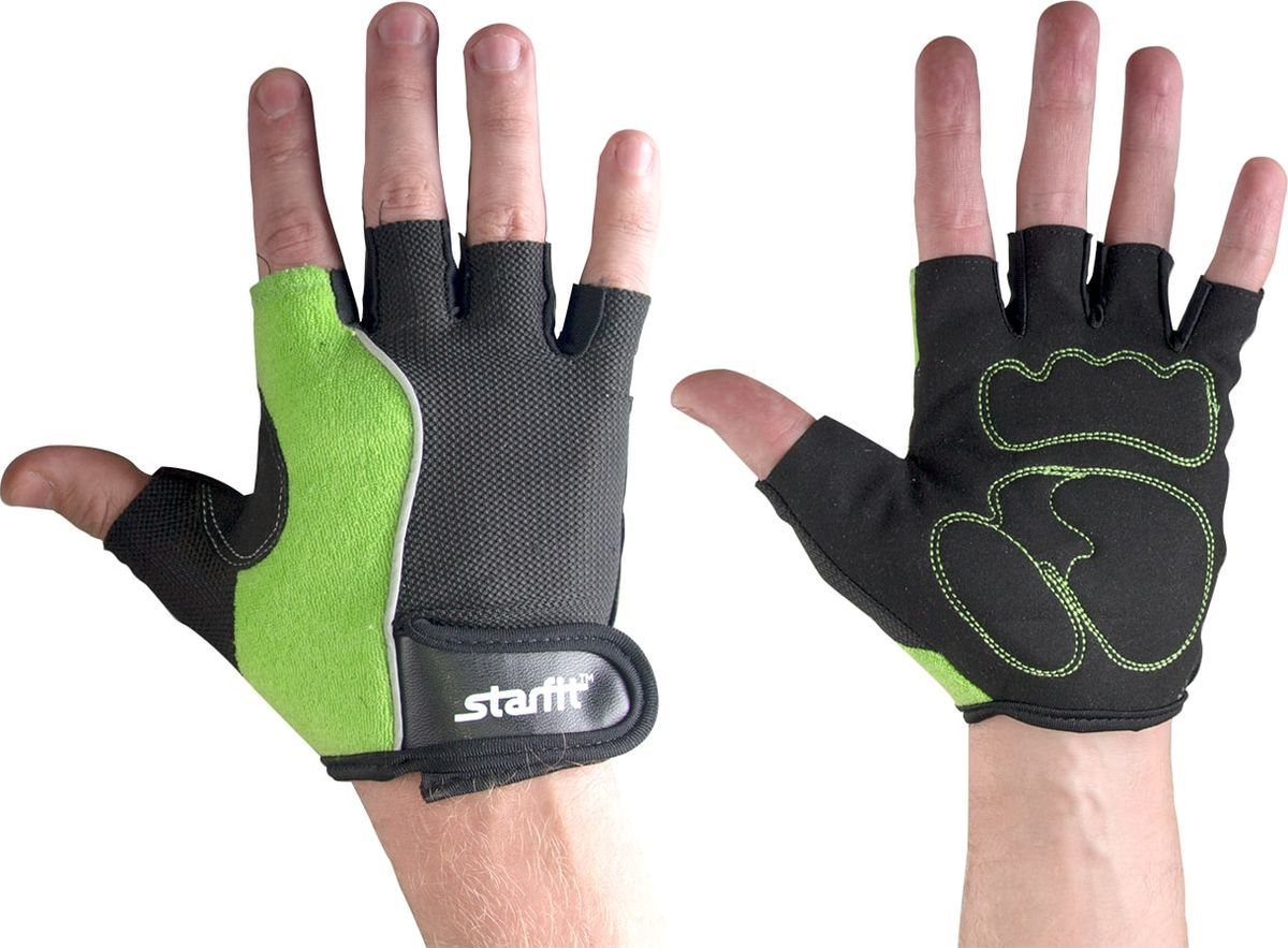 Перчатки для фитнеса мужские StarFit SU 108, зеленые/черные,