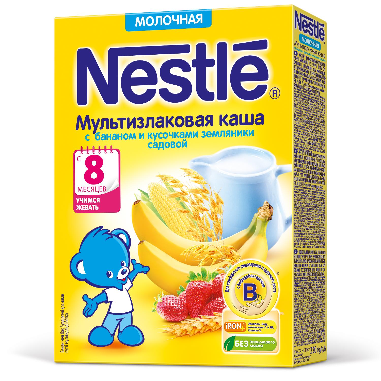 Каша молочная Nestle Мультизлаковая с бананом и кусочками земляники с 8 мес. 220 г фото