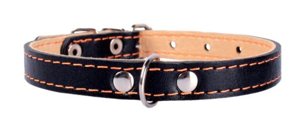 Ошейник для собак Collar, кожаный, двойной, черный, 32-40 см x 20 мм