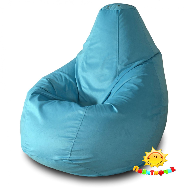 Кресло-мешок Pazitif Груша Пазитифчик Голубой 03, размер L, велюр, голубой фото