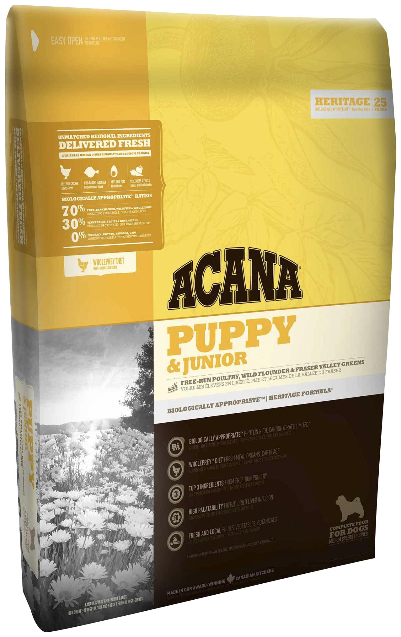 Сухой корм для щенков ACANA Heritage Puppy & Junior, цыпленок, 0,34кг фото