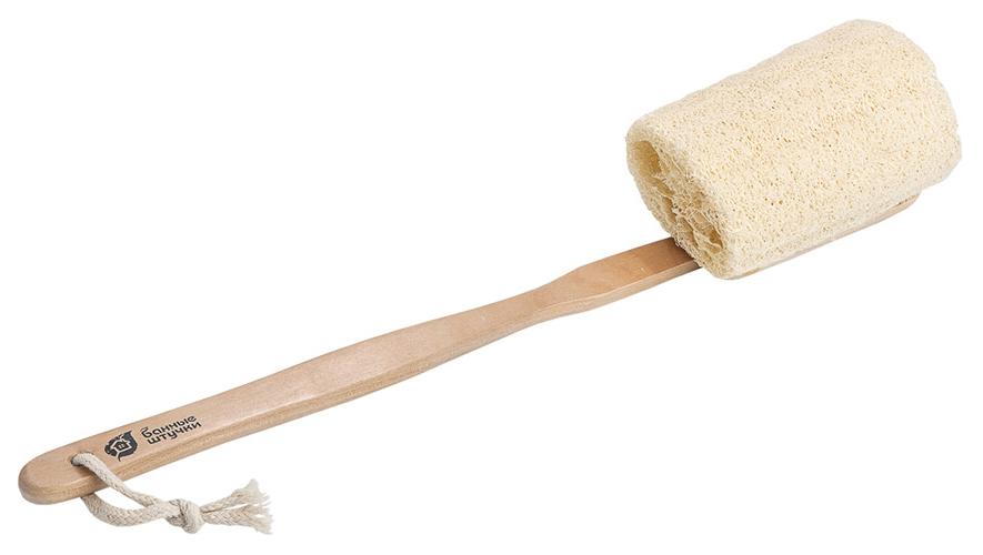 Мочалка для тела Банные Штучки Из люфы на деревянной ручке 46 см