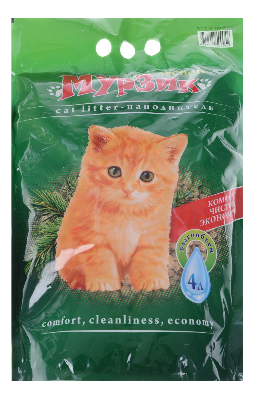 Впитывающий наполнитель для кошек Мурзик Лесной, древесный, 2.45 кг, 4 л фото