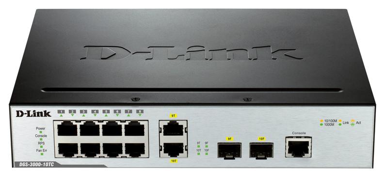 Коммутатор D Link DGS 3000 10TC/A1A Grey/Black
