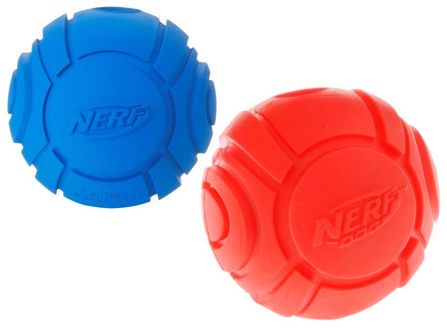 Апорт для собак NERF Мяч теннисный для бластера, красный, синий, длина 6 см фото