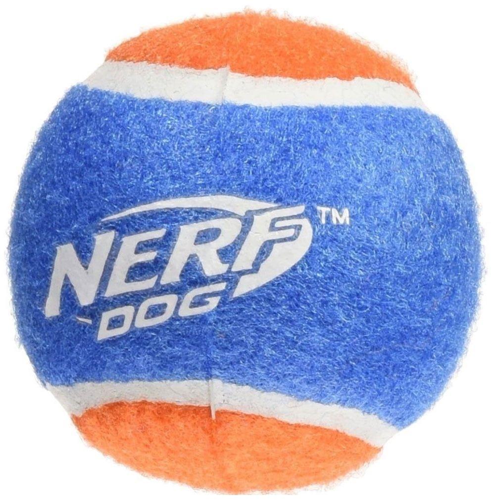 Апорт для собак NERF Мяч теннисный для бластера, оранжевый, синий, длина 6 см, 4 шт фото