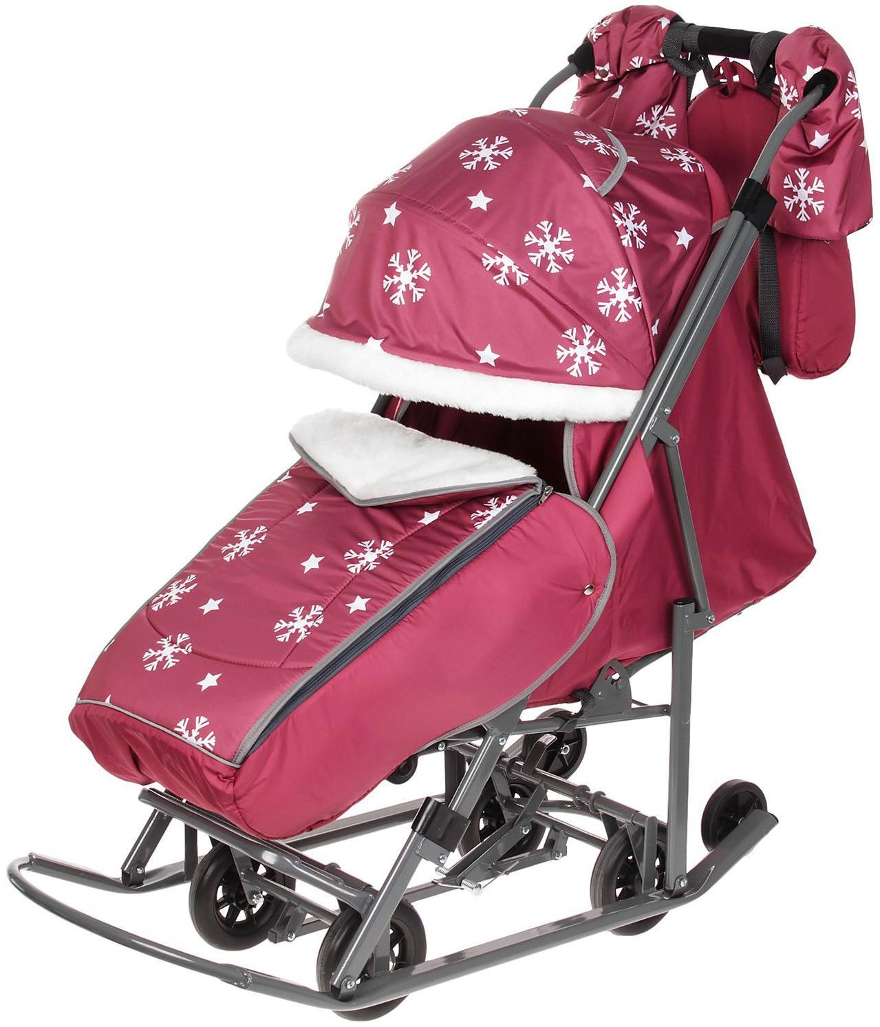 Купить Санки-коляска Pikate Снежинки Малиновый, Санки складные