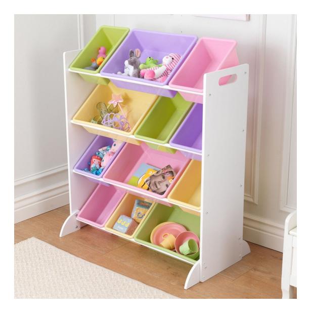Купить Kidkraft Система для хранения с 12 контейнерами белая Kidkraft 15450_KE, Стеллажи в детскую