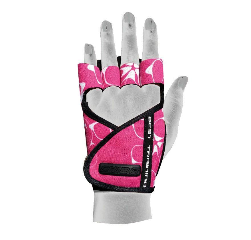 Перчатки для фитнеса и тяжелой атлетики Chiba Lady Motivation черно-белые/розовые XS