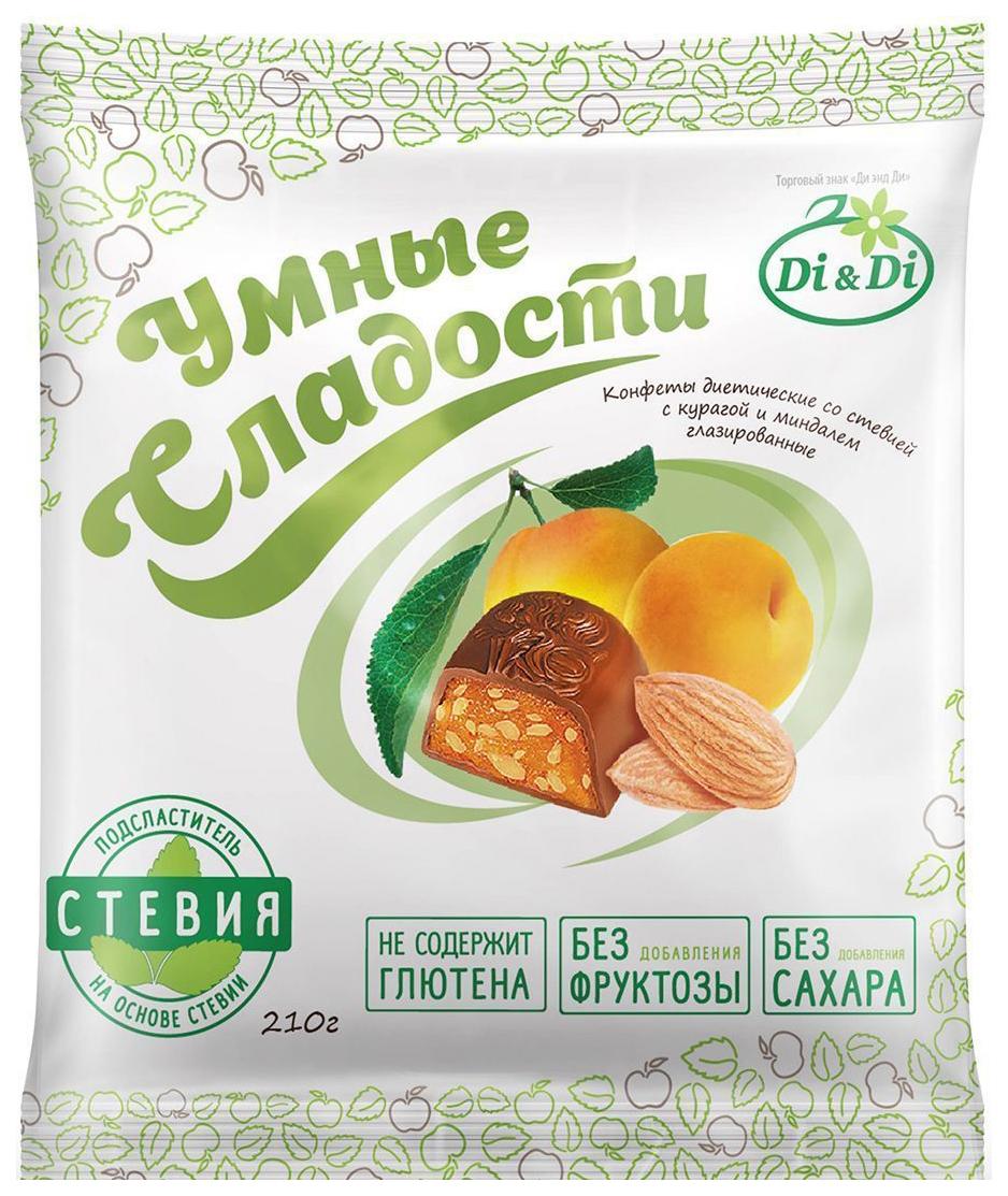 Конфеты со стевией Умные сладости с курагой и миндалем глазированные 210 г