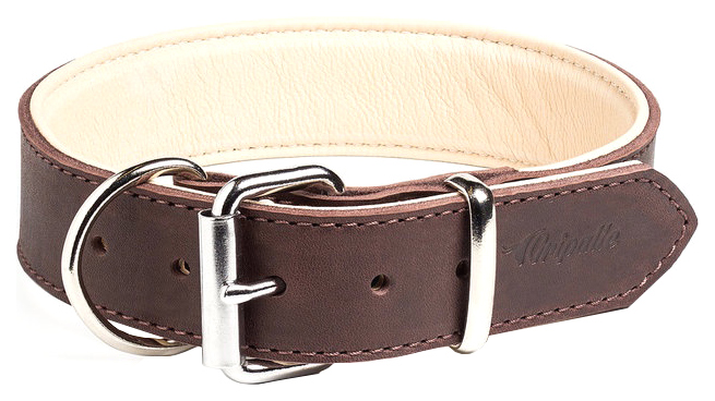 Ошейник для собак Gripalle Гросс, кожаный, стальная фурнитура, коричневый, 25мм х 40см