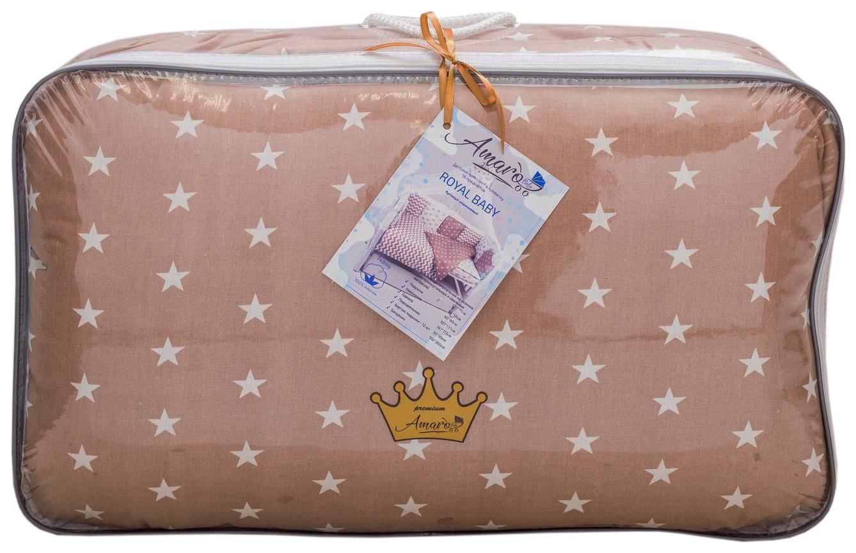 Комплект в кроватку AmaroBaby Royal Baby 18 предметов (6+12 бортиков) бязь, коричневый