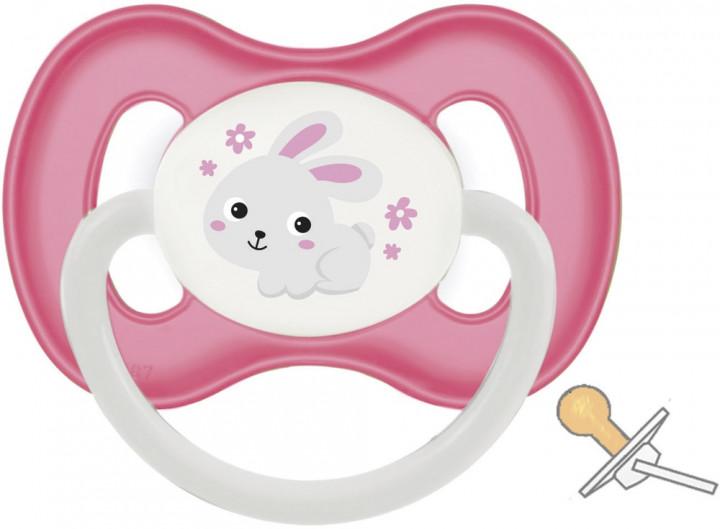Пустышка круглая Canpol Bunny #and# company латекс, 0-6 мес., арт. 23/277, розовый/зайчик