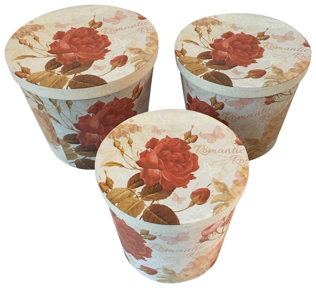 Набор подарочных картонных коробок Дикие розы, 3 шт. от 19,5x16,7 см до 24,5x20,7 см