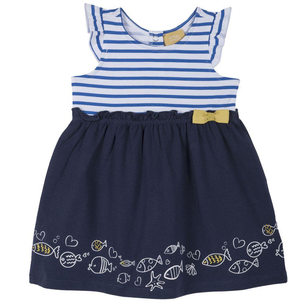 Купить 09003440, Платье Chicco р.092, Рыбки, цвет сине-белый, Платья для новорожденных