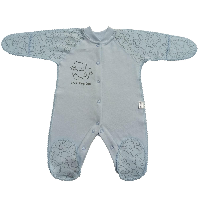 Купить 725-03, Комбинезон папитто верные друзья медвежонок, голубой р.20-62, Папитто, Трикотажные комбинезоны для новорожденных
