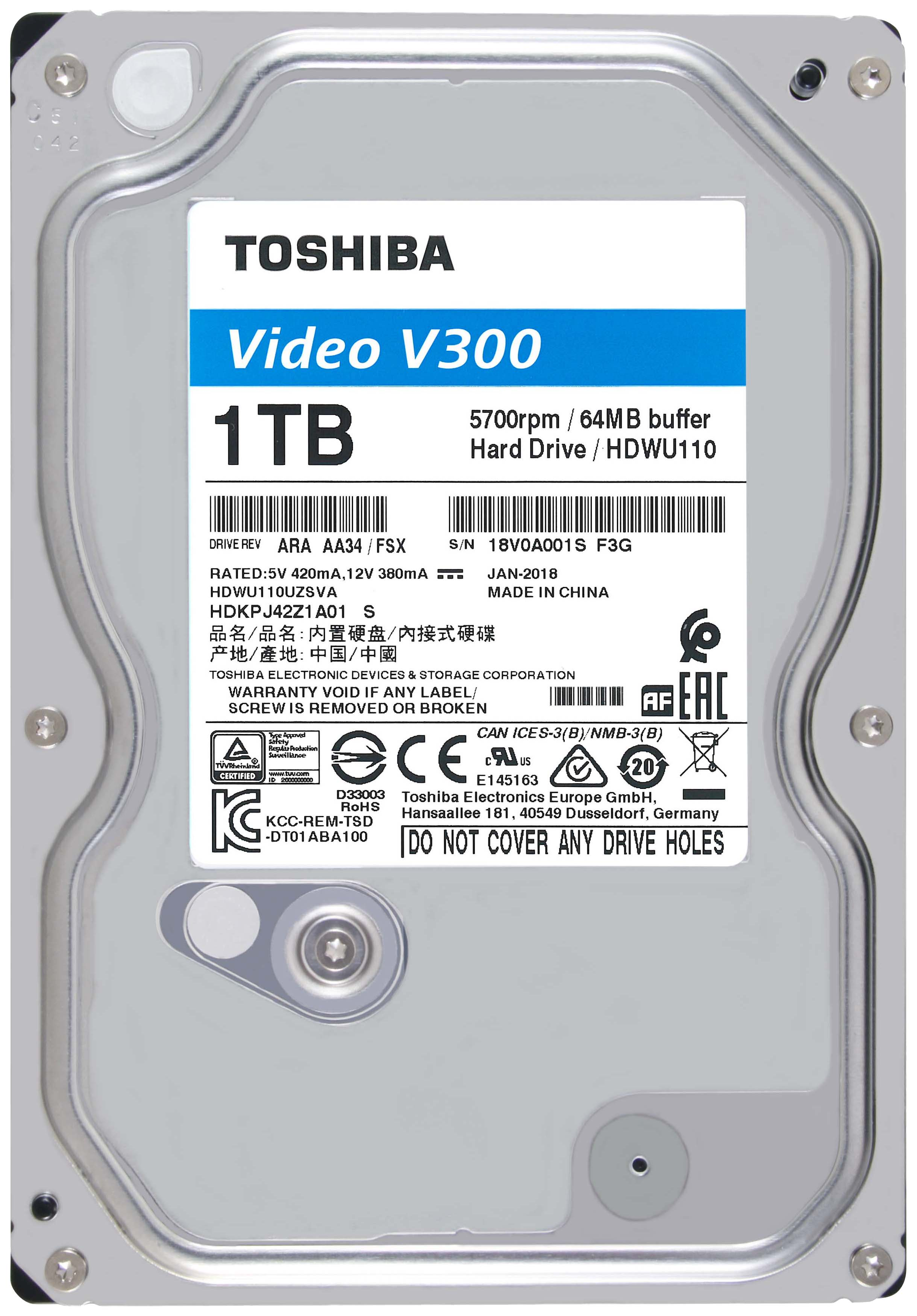 Внутренний жесткий диск Toshiba V300 1TB (HDWU110UZSVA) фото