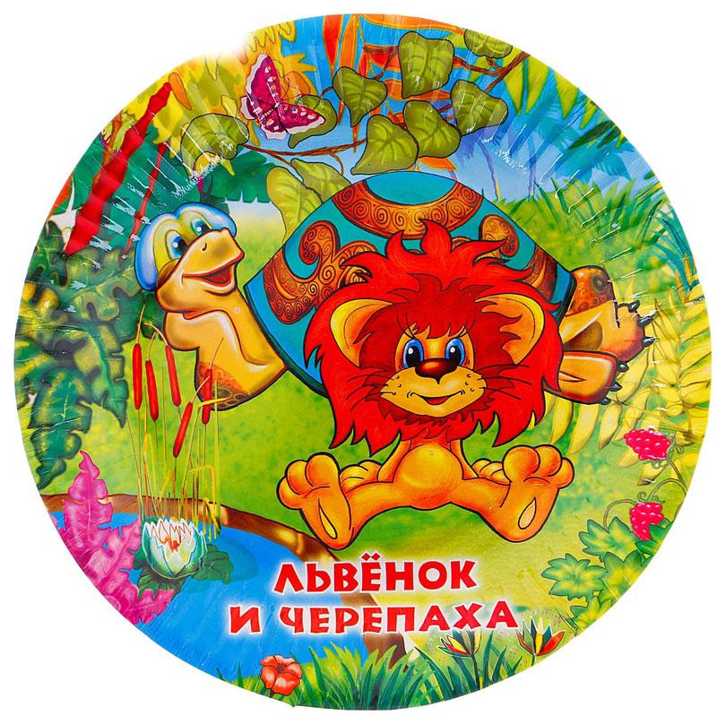 Набор одноразовых тарелок Веселый праздник разноцветный