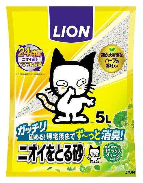Впитывающий наполнитель туалета для кошек LION бентонитовый для кошачьего туалета, 5 л