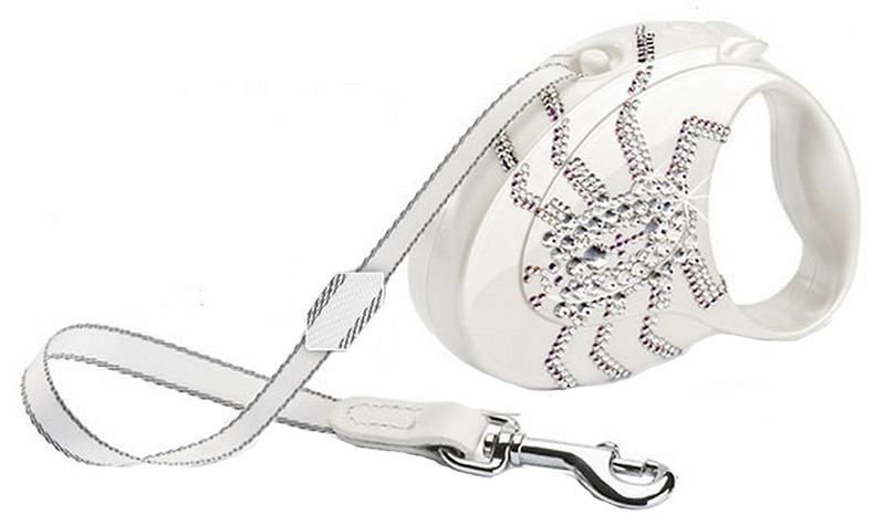 Рулетка для собак Flexi Glam Spider S Белый