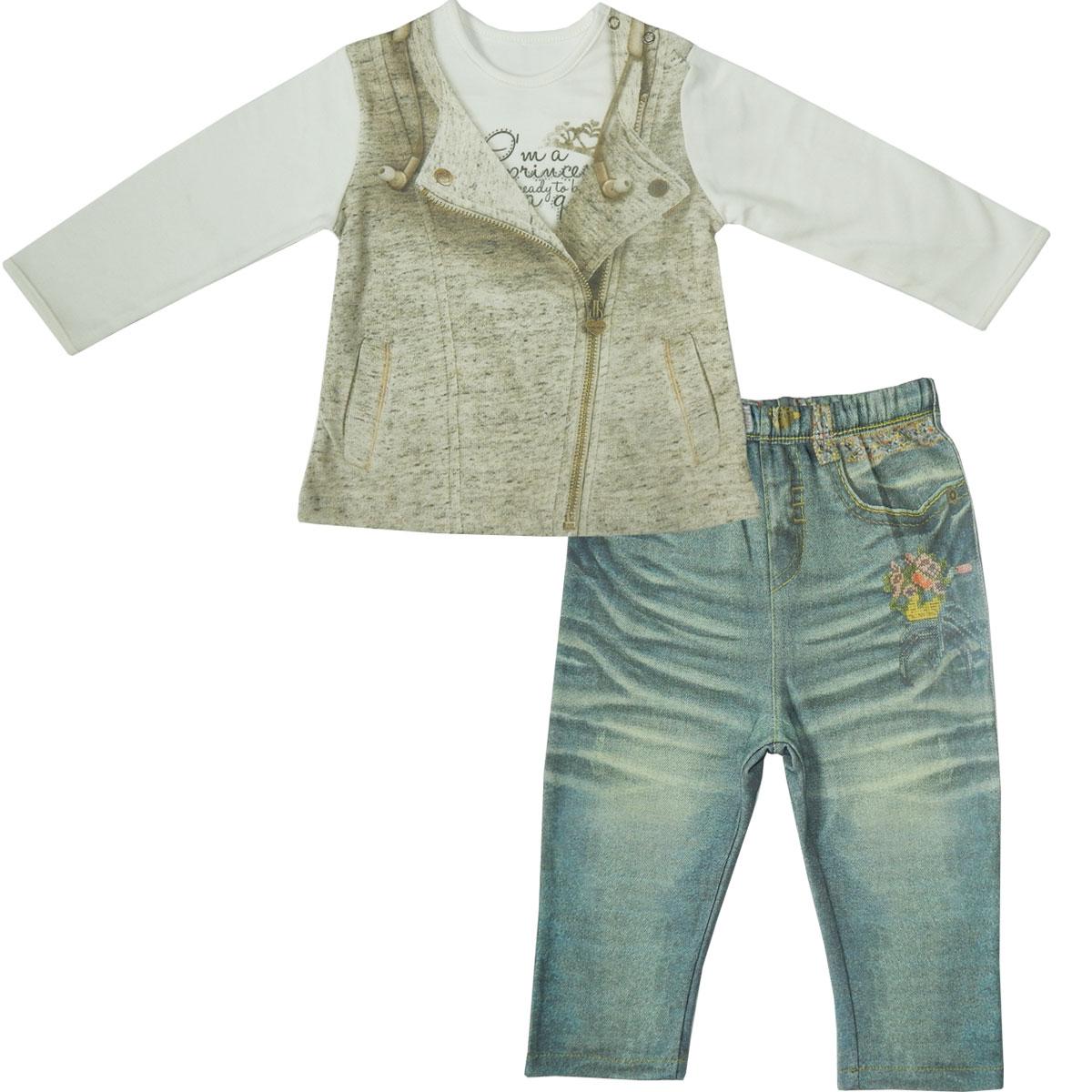 Купить Комплект одежды Папитто для девочки Fashion Jeans 595-05 белый/синий р.22-74, Комплекты для новорожденных