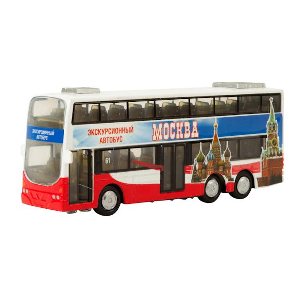 Купить Автобус Технопарк инерционный, металлический двухэтажный со светом и звуком 16 см, Городской транспорт