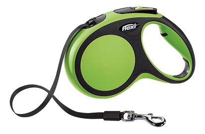 Поводок-рулетка Flexi New Comfort M до 25 кг, лента 5 м, черный-зеленый