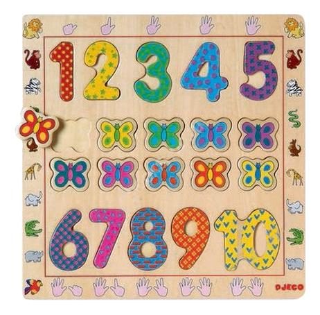 Купить От 1 До 10, Деревянная игрушка для малышей Djeco Рамка-вкладыш , Развивающие игрушки