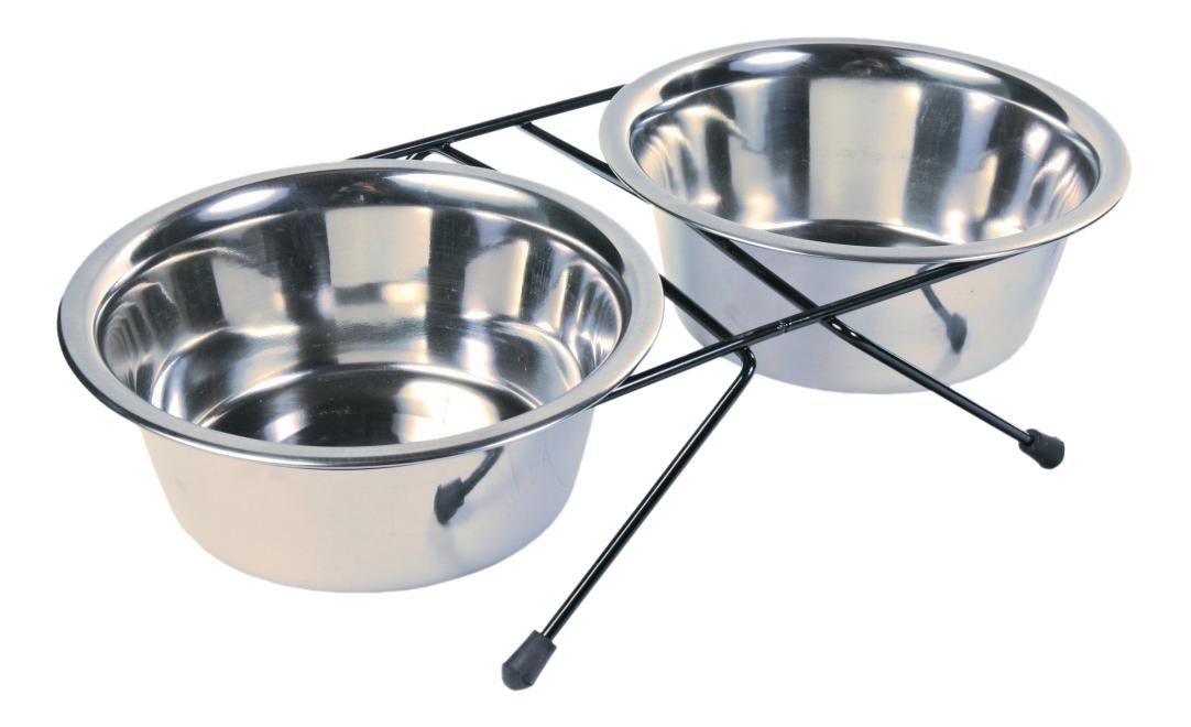 Двойная миска для собак TRIXIE, сталь, серебристый,