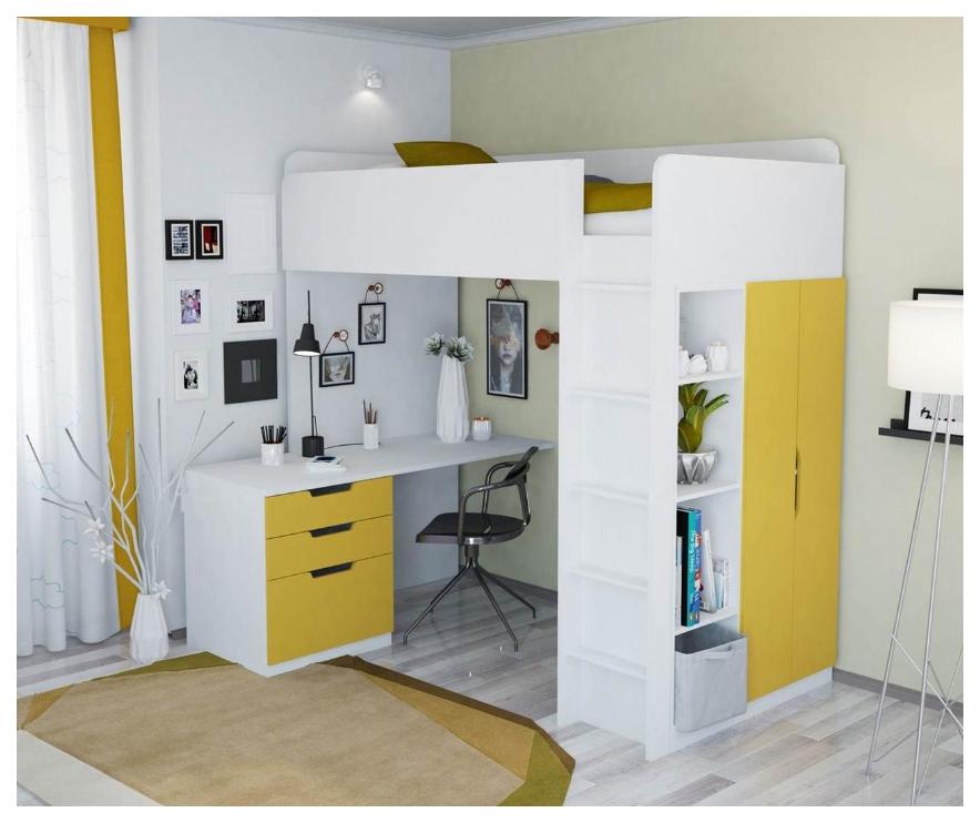 Кровать-чердак Polini Simple с письменным столом и шкафом белый Лайм