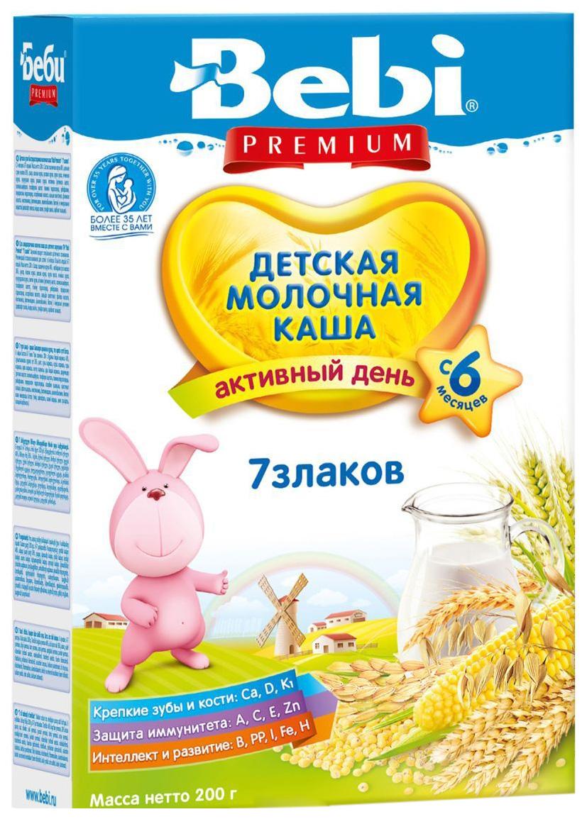 Купить 7 злаков 200 г, Молочная каша Bebi 7 злаков с 6 мес 200 г, Детские каши