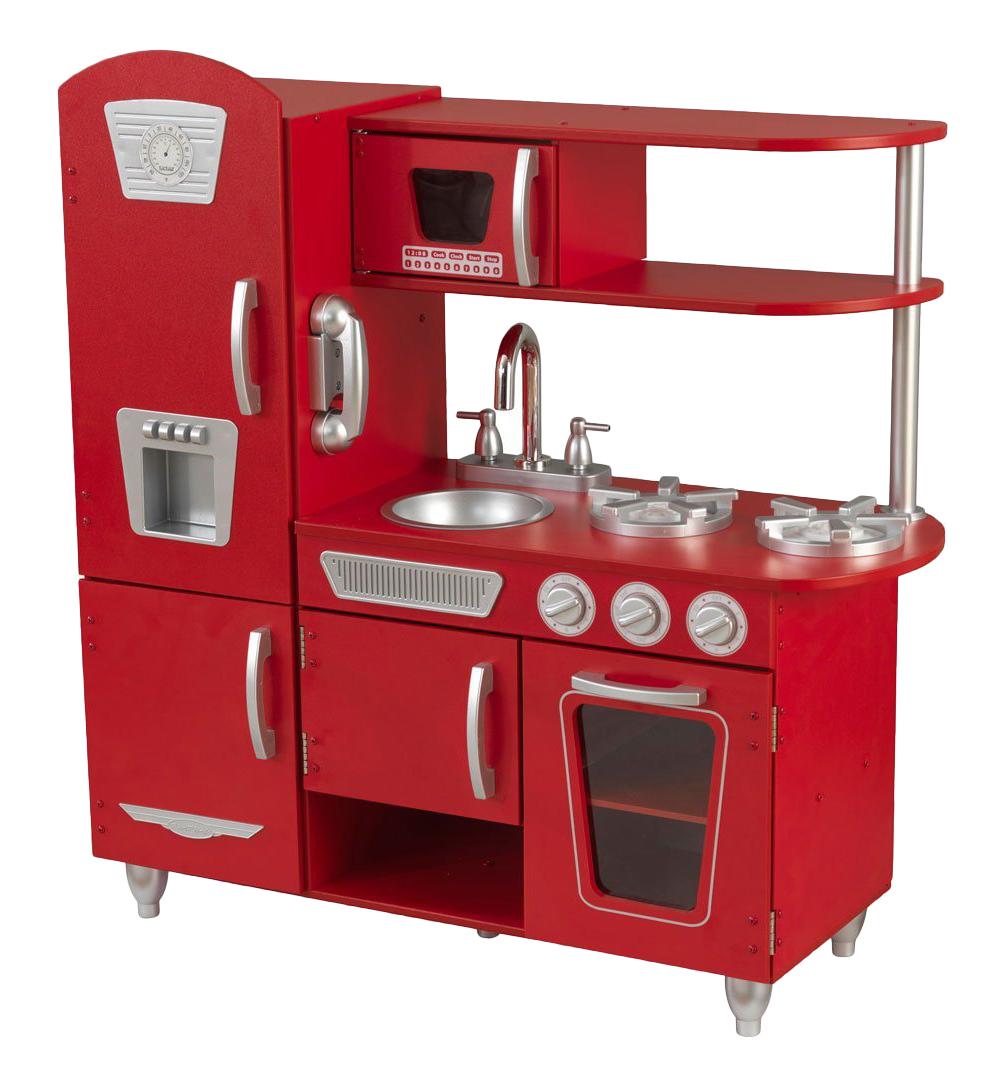 Винтаж красная, Деревянная кухня Kidkraft винтаж, цвет красный 53173_KE, Детская кухня  - купить со скидкой