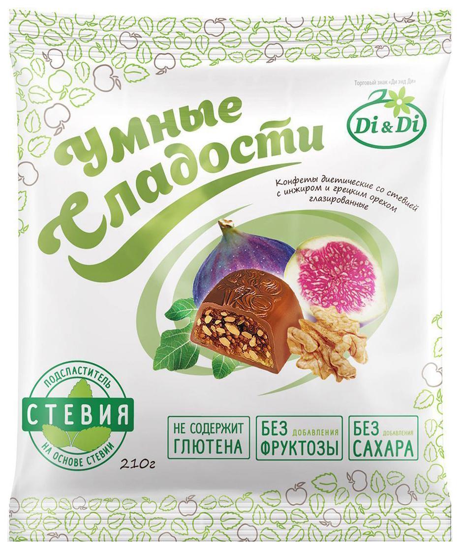 Конфеты со стевией Умные сладости с инжиром и грецким орехом глазированные 210 г