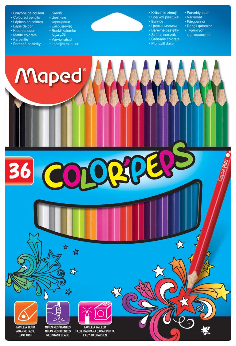 Купить -, Карандаши цветные COLOR'PEPS, треугольн, 36цв. картон. MAPED, Цветные карандаши
