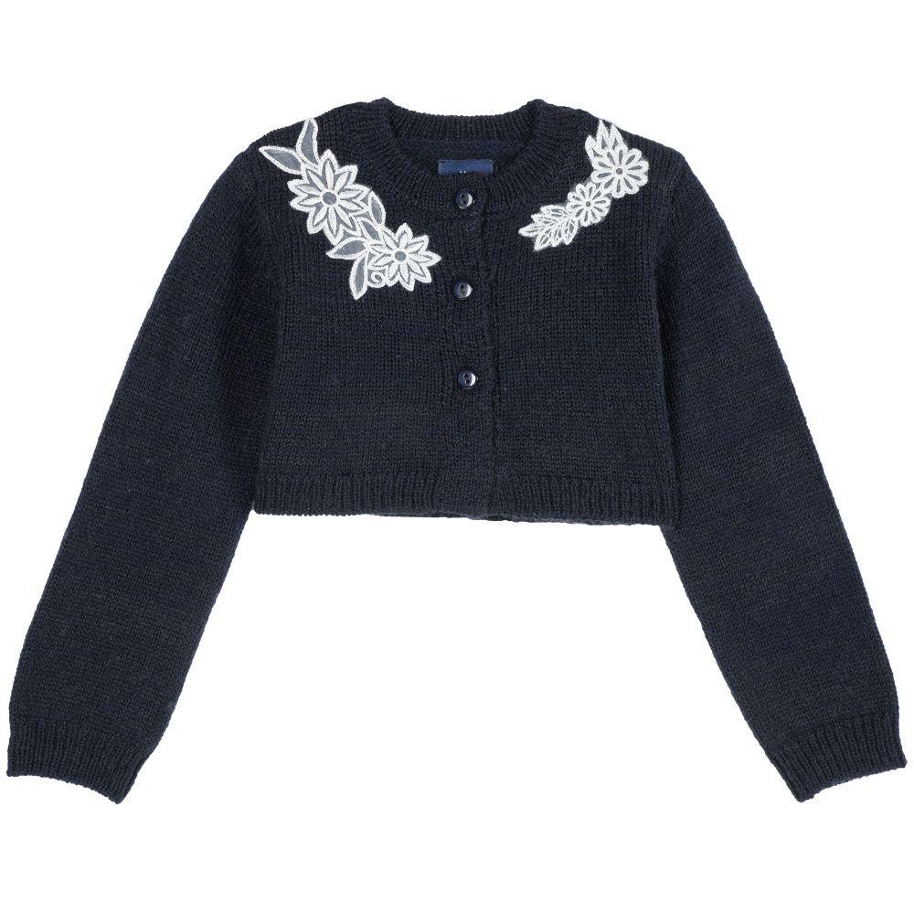 Купить 9096764, Болеро детское Chicco р.110 цвет темно-синий с аппликацией,