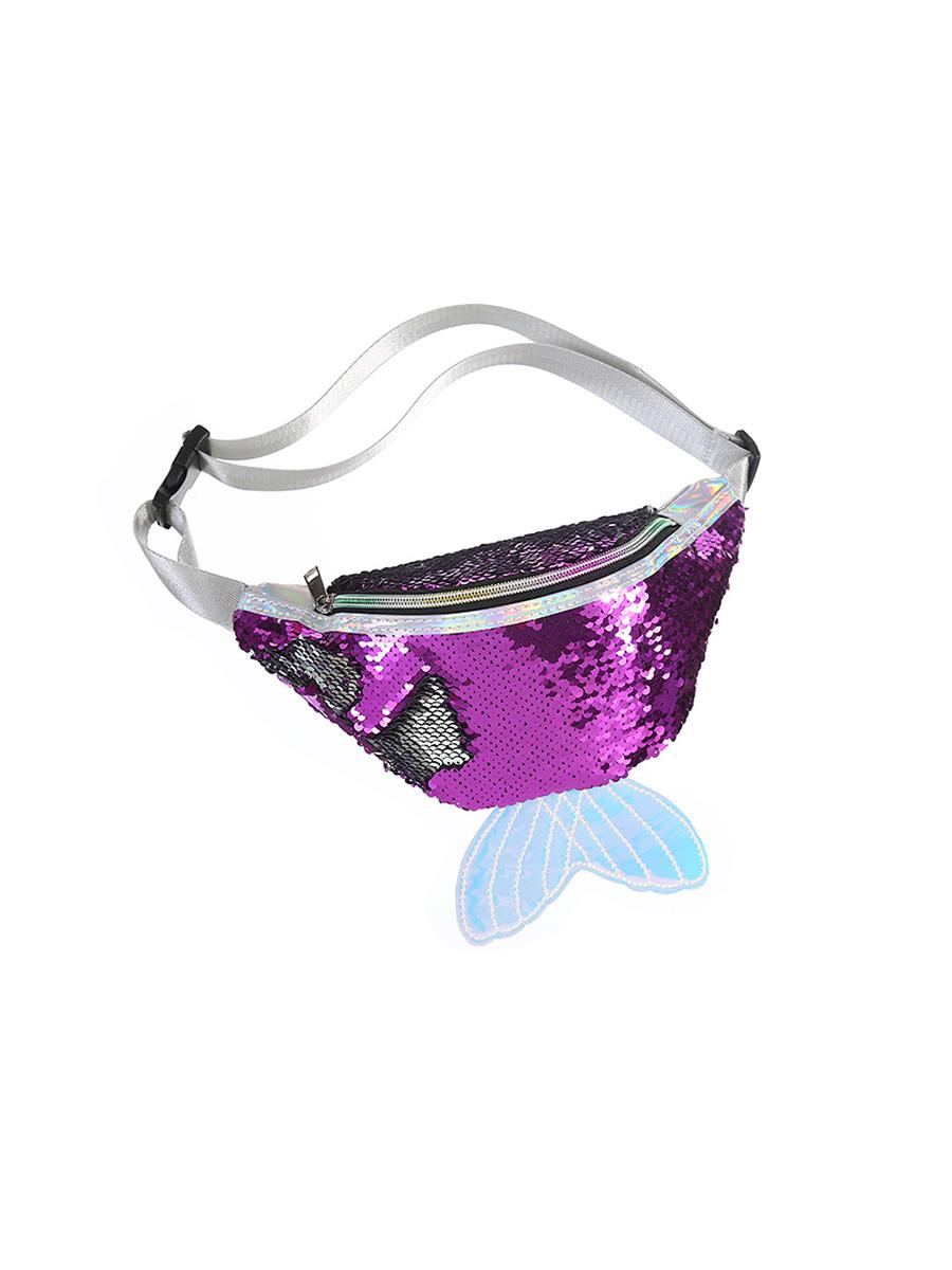 Сумка поясная с пайетками Русалочка фиолетовая
