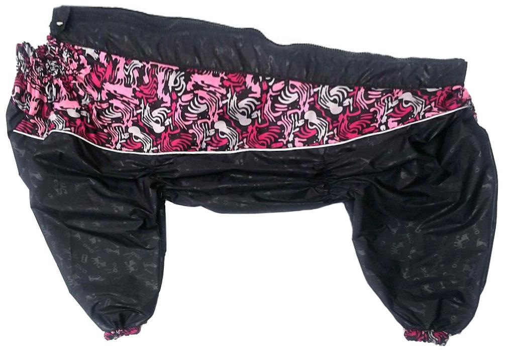 Дождевик для собак OSSO Fashion, таксы и вельш-корги, со вставками, женский, черный, 45т-3 фото