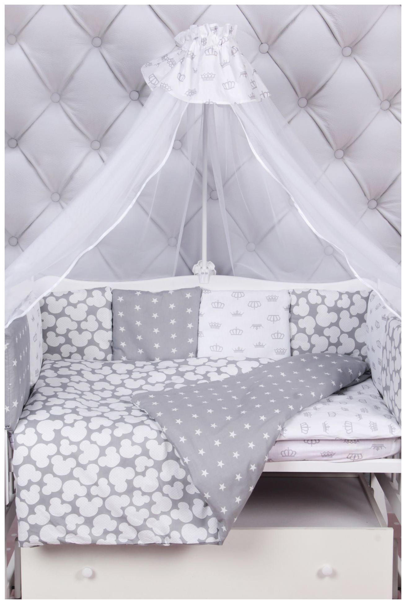 Комплект в кроватку AmaroBaby Silver 18 предметов (6+12 подушек-бортиков) бязь, серый