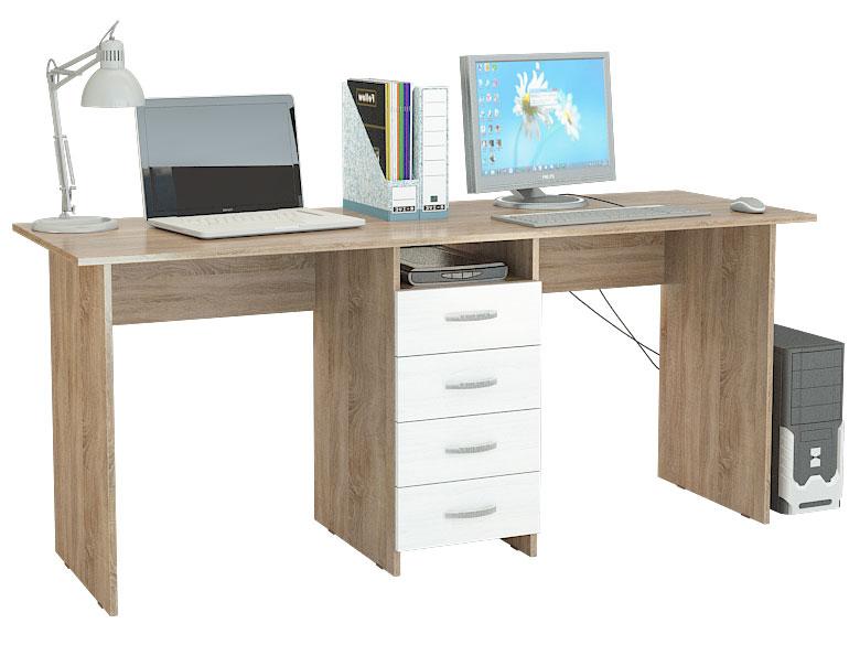 Компьютерный стол МФ Мастер Тандем-2 174,8x60x75, дуб сонома/белый