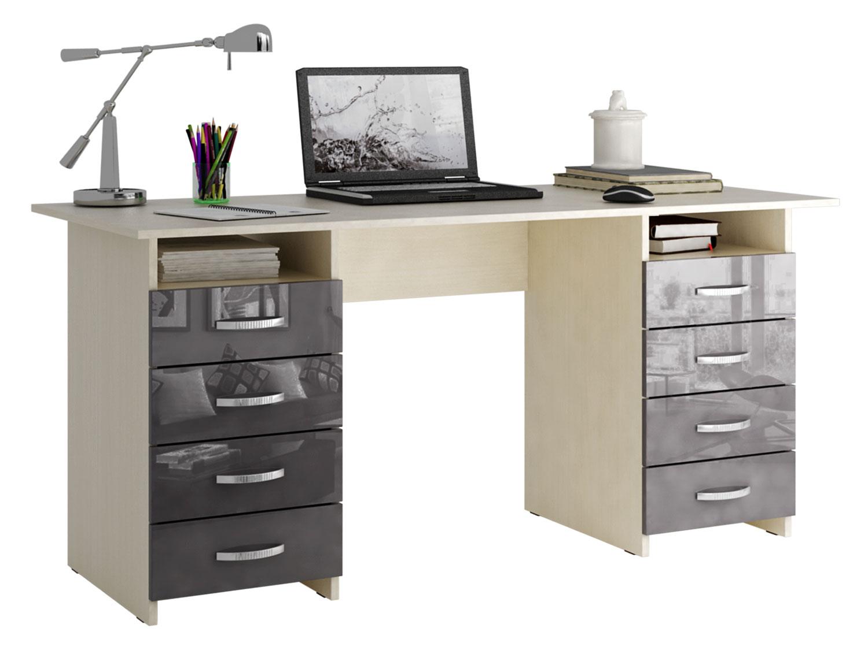 Письменный стол МФ Мастер МСТ-СДМ-10-ГЛ Милан-10 глянец серый глянец, дуб молочный