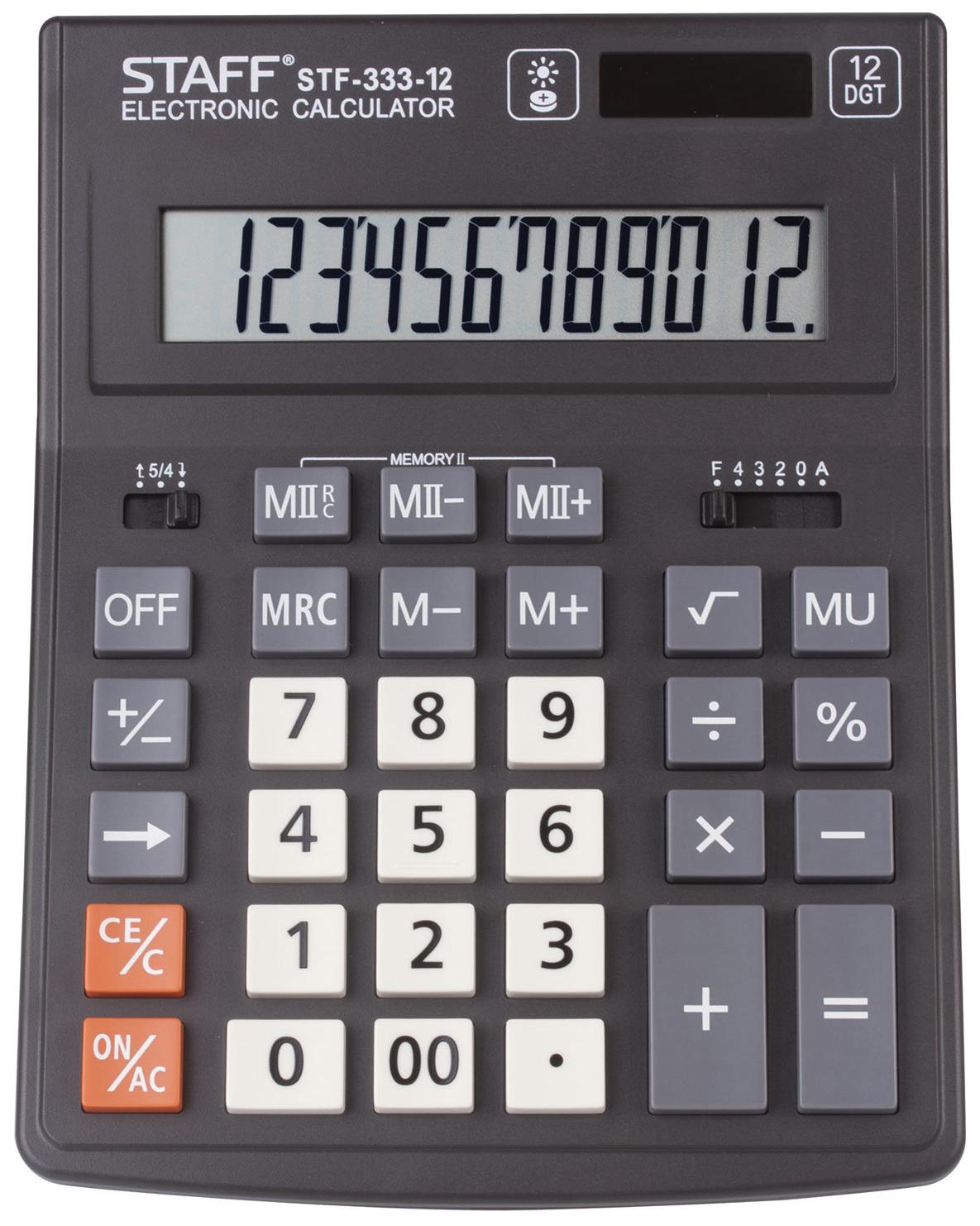 Калькулятор Staff PLUS настольный STF-333, 12 разрядов, двойное питание, 200x154 мм
